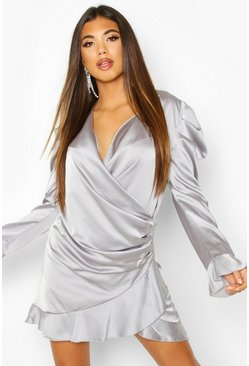 Satin Wrap Frill Shift Dress, Silver, MUJER
