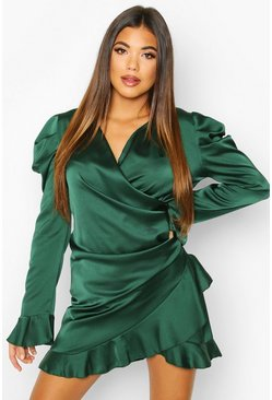 Teal Satin Wrap Frill Shift Dress