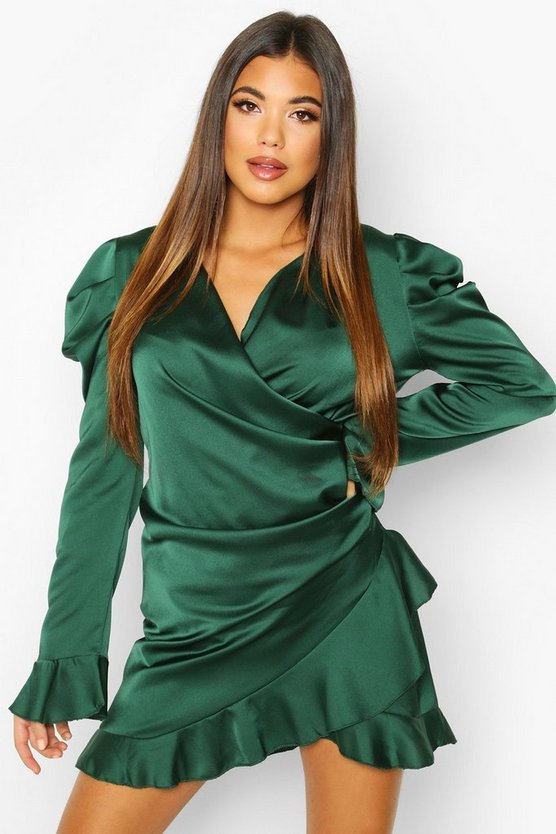 Satin Wrap Frill Shift Dress