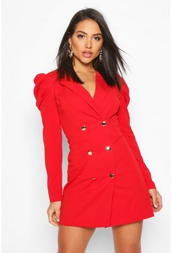 Womens Red Puff Sleeve Button Blazer Dress