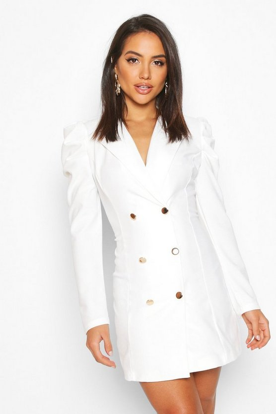 White Puff Sleeve Button Blazer Dress