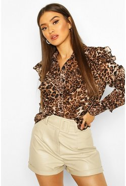 Leopard Ruffle Detail Shirt, Natural