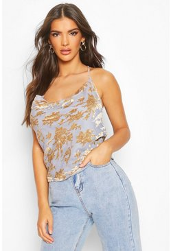 Womens Gold Devore Floral Cowl Front Cami Top
