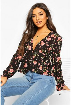 Womens Black Floral Tie Detail Woven Peplum Top