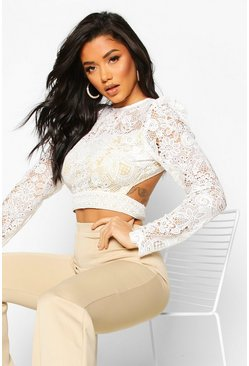 Corded Lace Puff Sleeve Crop Top, White, MUJER