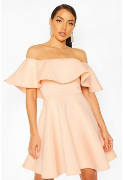 Bonded Scuba Off The Shoulder Frill Skater Dress, Blush