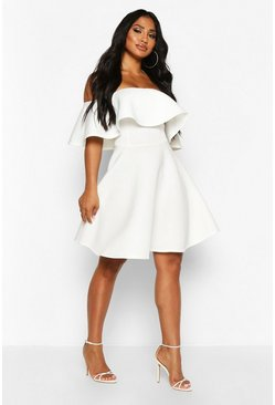 Bonded Scuba Off The Shoulder Frill Skater Dress, Ivory, MUJER
