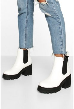 White Wide Fit Chunky Chelsea Boots