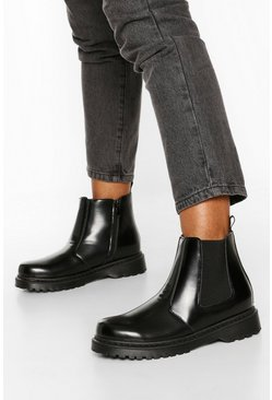 Black Wide Fit Chunky Chelsea Boots