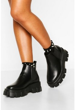 Black Wide Fit Chunky Cleated Chelsea Boots