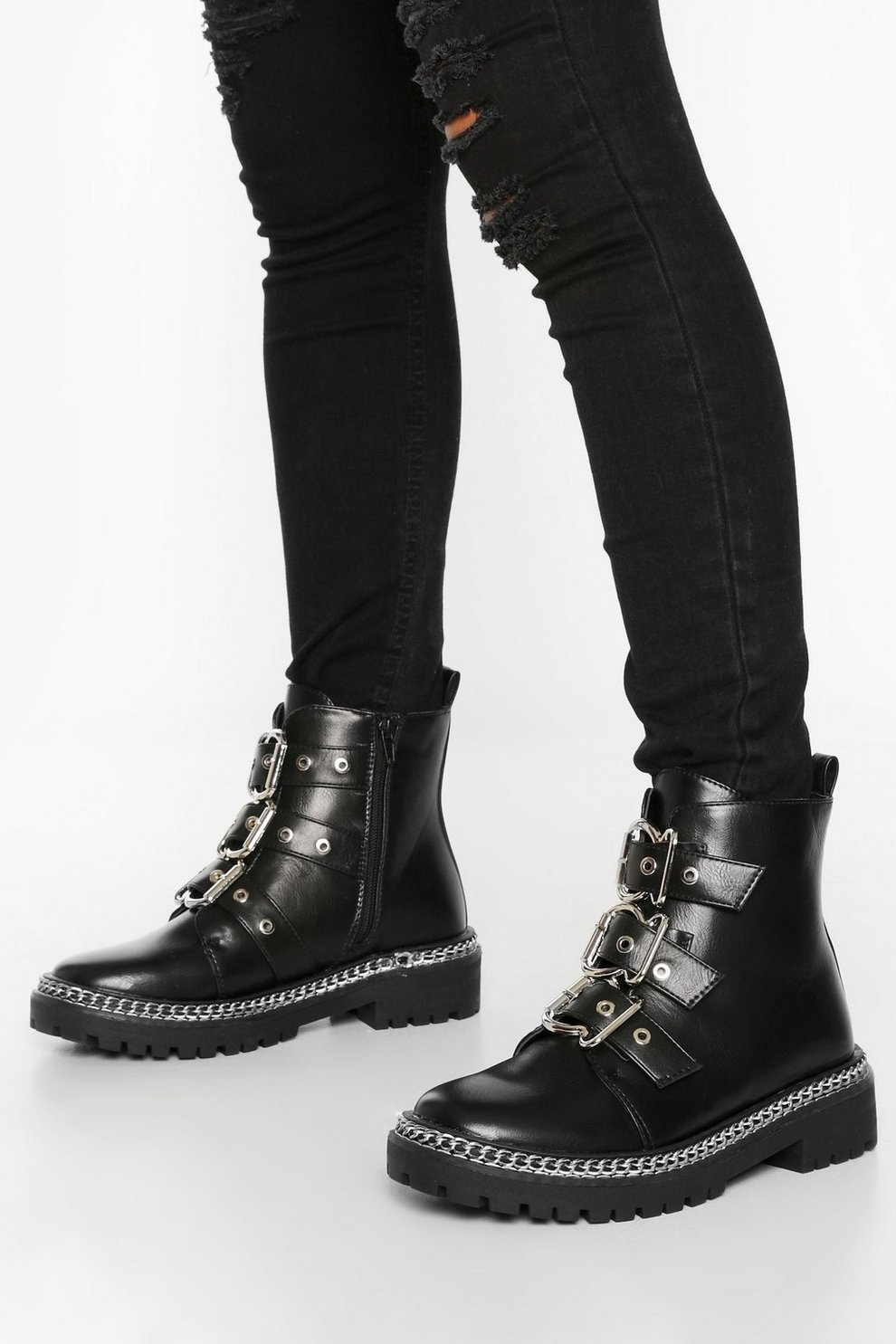 Wide Fit Chain Detail 3 Buckle Biker Boots | boohoo