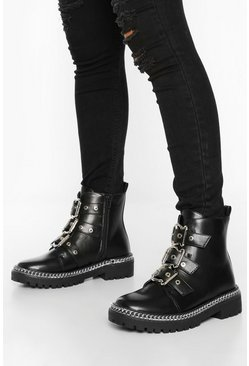 Wide Fit Chain Detail 3 Buckle Biker Boots, Black