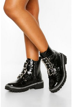 Black Wide Fit Croc Chain Detail 3 Buckle Biker Boots