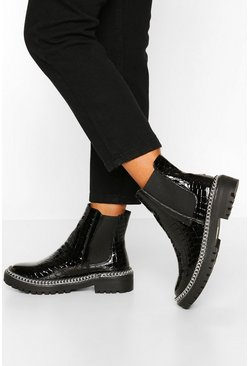 Wide Fit Croc Chain Detail Chunky Chelsea Boots, Black