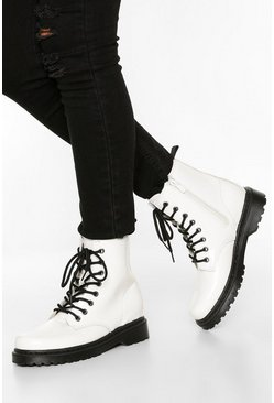 Wide Fit Lace Up Chunky Hiker Boots, White
