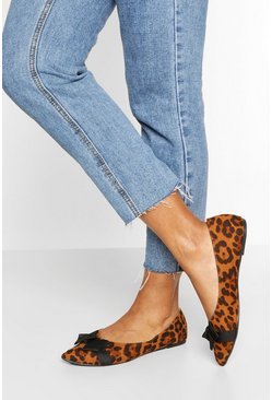 Wide Fit Pointed Bow Ballets, Leopard