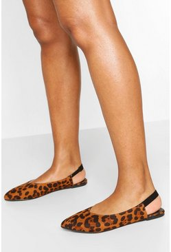 Wide Fit Pointed Sling Back Ballets, Leopard