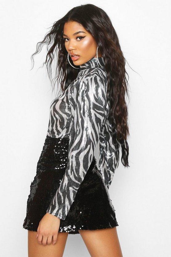 Sequin Zebra High Neck Bodysuit