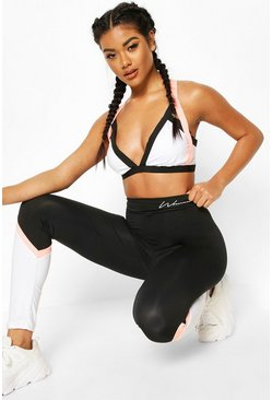 Black Fit Contour Block Leggings & Bra Set