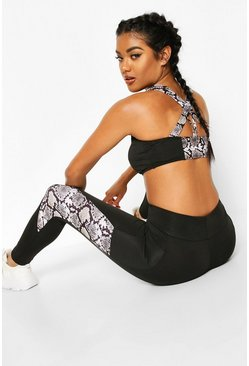 Black Fit Snake Strapping Medium Support Sports Bra