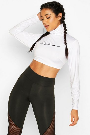 White Fit Long Sleeve High Neck Running Top