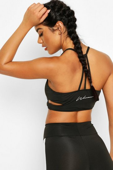 Womens Black Fit Woman Slogan Strapping Sports Bra