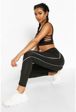 Black Fit Contrast Contour Gym Leggings