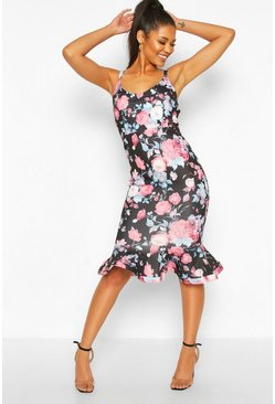 Floral V Neck Frill Hem Midi Dress, Black
