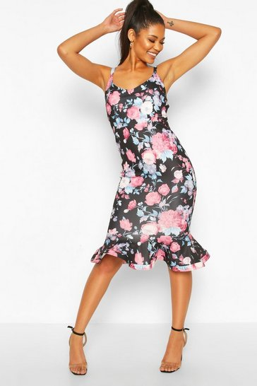 Black Floral V Neck Frill Hem Midi Dress