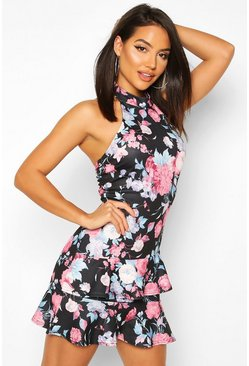 Black Floral High Neck Double Ruffle Mini Dress