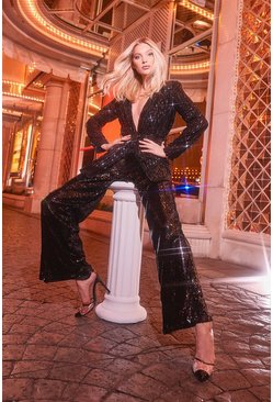 Black Sequin Tailored Suit Trouser