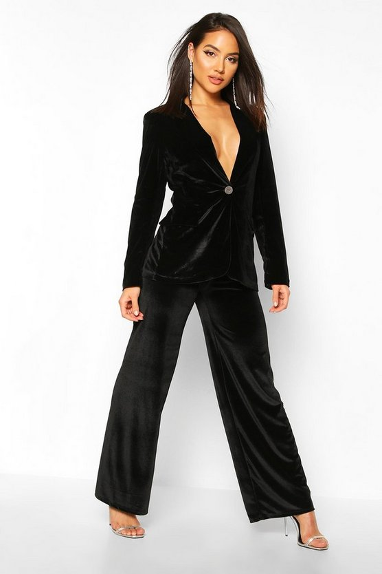 Black Velvet Wide Leg Trouser
