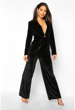 Velvet Wide Leg Trouser, Black