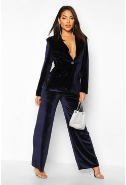 Navy Velvet Wide Leg Trouser