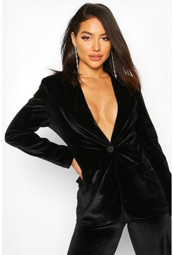 Velvet Tailored Blazer, Black