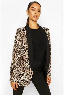 Contrast Lapel Leopard Point Blazer, Brown