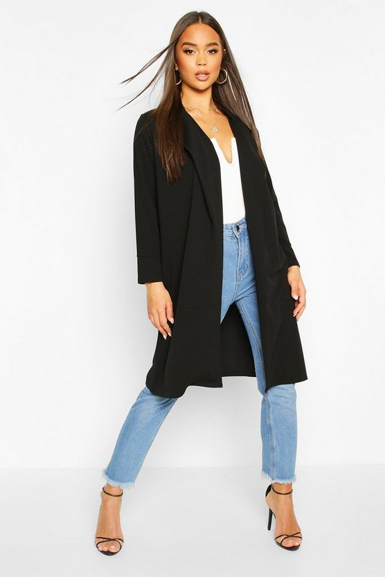 Womens Black Tailored Duster Coat