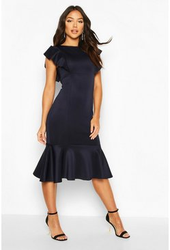 Navy Frill Fishtail Midi Dress