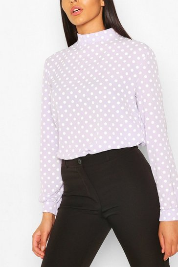 Purple Polka Dot High Neck Blouse
