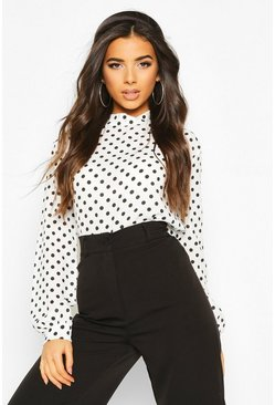 Polka Dot High Neck Blouse, White