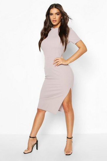 Light grey High Neck Slit Side Midi Dress
