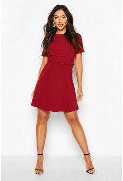 Wine Self Fabric Belt Skater Dress