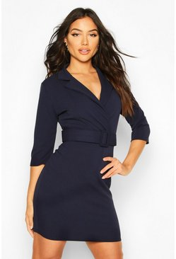 Navy Self Belt Bodycon Dress