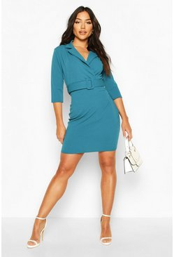 Self Belt Bodycon Dress, Teal