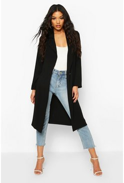 Button Tailored Longline Duster Coat, Black