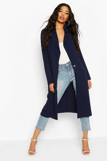 Navy Button Tailored Longline Duster Coat