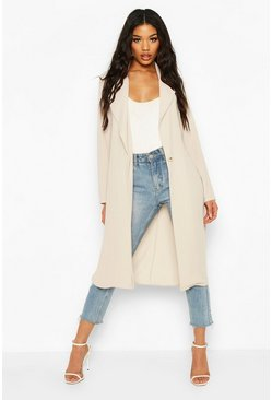 Stone Button Tailored Longline Duster Coat