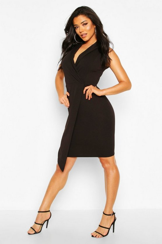 Black Sleeveless Tux Midi Dress