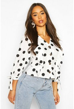 Womens Ivory Polkadot Button Down Ruffle Blouse