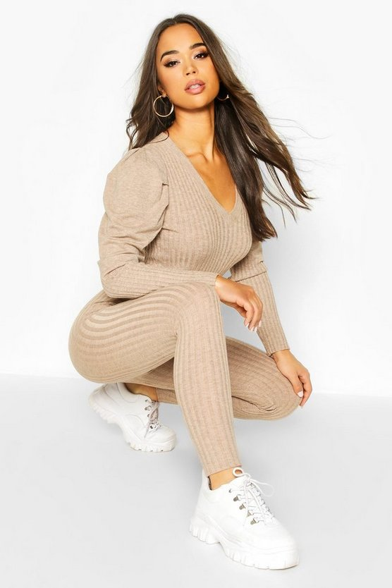 Beige Puff Shoulder Rib Knit Lounge Set